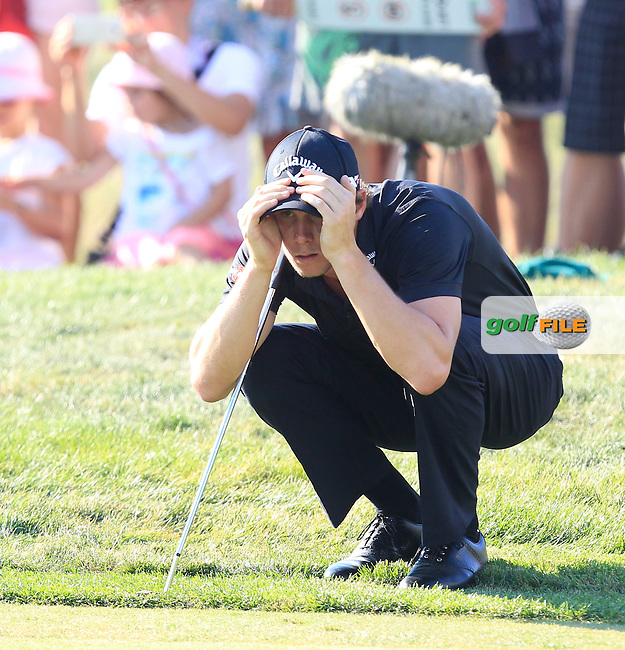 Thomas Pieters (BEL) on the 18th green during Round 4 of the D+D Real Czech Masters at the Albatross Golf Resort on Sunday 30th August 2015.<br /> Picture:  Thos Caffrey / www.golffile.ie