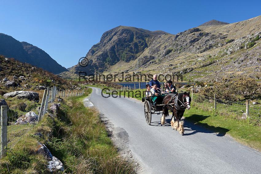 Ireland, County Kerry, near Killarney, horse-drawn carriage at Gap of Dunloe | Irland, County Kerry, bei Killarney, Pferdekutsche am Gap of Dunloe