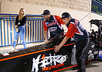 May 31, 2019; Joliet, IL, USA; NHRA top fuel driver Dom Lagana and fiancé Sara Mattis during qualifying for the Route 66 Nationals at Route 66 Raceway. Mandatory Credit: Mark J. Rebilas-USA TODAY Sports