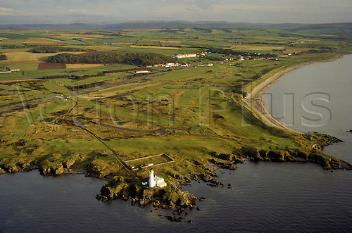 Aerial view of the Turnberry Golf Course in Ayrshire, Scotland situated along the coast. Photo: Brian Morgan/actionplus...course courses general view views scene scenery clubs landscape venue Scottish club sea 1587 elevated