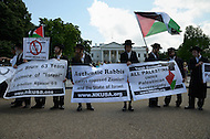 "May 15, 2011 (Washington, DC) Anti Zionist Orthodox Jews join Palestinian supporters during a rally in front of the White House in Washington on the 63rd anniversary of Al-Nakba. During the 1948 Palestine War, an estimated 700,000 Palestinians were expelled from, or fled, Palestine and hundreds of Palestinian villages were depopulated and destroyed. The displacement, dispossession and dispersal of the Palestinian people is known to them as al-Nakba, meaning ""the catastrophe,"" or ""the disaster.""  On Nakba Day of 2011, Palestinians and other Arabs from the West Bank, Gaza Strip, Syria, and Lebanon marched towards their respective borders with Israel to mark the event. (Photo Credit: Don Baxter/Media Images International)"