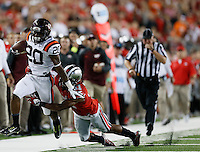 Virginia Tech Hokies wide receiver Deon Newsome (20) gets by Ohio State Buckeyes defensive back Vonn Bell (11) in the 4th quarter at Ohio Stadium September 6, 2014. (Dispatch photo by Eric Albrecht)