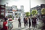 Trek-Drops team at sign on before the 2018 Liege-Bastogne-Liege Femmes running 136km from Bastogne to Ans, Belgium. 22nd April 2018.<br /> Picture: ASO/Thomas Maheux | Cyclefile<br /> All photos usage must carry mandatory copyright credit (&copy; Cyclefile | ASO/Thomas Maheux)