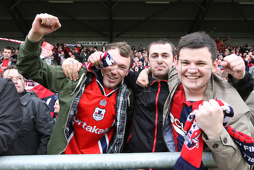 27.04.2013 Dagenham, England.  York City Fans celebrate after the League Two game between Dagenham & Redbridge and York City from Victoria Road.