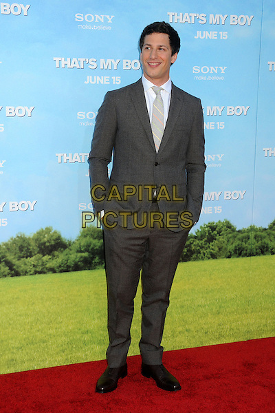 "Andy Samberg.""That's My Boy"" Los Angeles Premiere held at the Regency Village Theatre, Westwood, California, USA..June 4th, 2012.full length hands in pockets suit grey gray  .CAP/ADM/BP.©Byron Purvis/AdMedia/Capital Pictures."