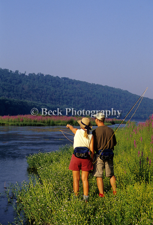 Fly fishing the Susquehanna River in the summer, PA