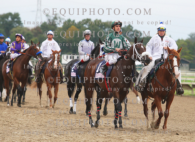 Post parade for Cotillion Stakes. 10/1/11.Order Online at www.equiphoto.com/archives