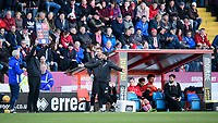 Lincoln City manager Danny Cowley, right, reacts as fourth official Carl Boyeson indicates six minutes of added time<br /> <br /> Photographer Chris Vaughan/CameraSport<br /> <br /> The EFL Sky Bet League Two - Lincoln City v Stevenage - Saturday 16th February 2019 - Sincil Bank - Lincoln<br /> <br /> World Copyright © 2019 CameraSport. All rights reserved. 43 Linden Ave. Countesthorpe. Leicester. England. LE8 5PG - Tel: +44 (0) 116 277 4147 - admin@camerasport.com - www.camerasport.com