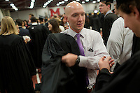 Graduating students gather in the Rockwell Cage of the Johnson Athletics Center before MIT Commencement on June 8, 2012, in Cambridge, Massachusetts, USA...Photo by M. Scott Brauer