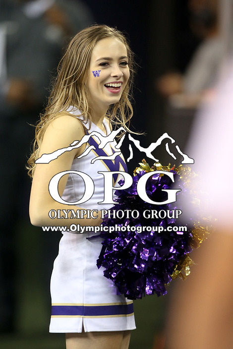 SEATTLE, WA - SEPTEMBER 16:  Washington cheerleader Julia Bautel entertained fans during the football game between the Washington Huskies and the Fresno State Bulldogs on September 16, 2017 at Husky Stadium in Seattle, WA. Washington won 63-7 over Montana.