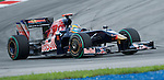 04 Apr 2009, Kuala Lumpur, Malaysia --- Scuderia Toro Rosso driver Sebastien Bourdais of France steers his car during the third practice session ahead the 2009 Fia Formula One Malasyan Grand Prix at the Sepang circuit near Kuala Lumpur. Photo by Victor Fraile --- Image by © Victor Fraile / The Power of Sport Images