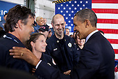 United States President Barack Obama greets members of the audience following his remarks on the Veterans Job Corps at Fire Station #5 in Arlington, Virginia, February 3, 2012..Mandatory Credit: Pete Souza - White House via CNP