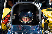Sept. 5, 2010; Clermont, IN, USA; NHRA top fuel dragster driver Luigi Novelli during qualifying for the U.S. Nationals at O'Reilly Raceway Park at Indianapolis. Mandatory Credit: Mark J. Rebilas-