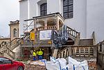 Prace remontowe w Synagodze Izaaka, (Synagoga Ajzyka) znajdująca się na rogu ulic Kupa 18 i Izaaka.