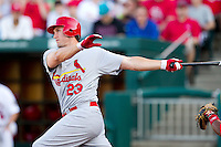 David Freese (23) of the St. Louis Cardinals follows through his swing during a game against the Springfield Cardinals at Hammons Field on April 2, 2012 in Springfield, Missouri. (David Welker/Four Seam Images)