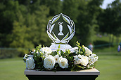 4th June 2017, Dublin, OH, USA;  The Memorial Tournament trophy sits at the first hole during the final round of The Memorial Tournament  at the Muirfield Village Golf Club in Dublin, OH.