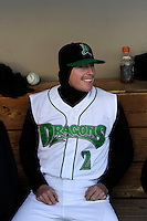 Dayton Dragons second baseman Brent Peterson #2 in the dugout before a game against the Bowling Green Hot Rods on April 20, 2013 at Fifth Third Field in Dayton, Ohio.  Dayton defeated Bowling Green 6-3.  (Mike Janes/Four Seam Images)