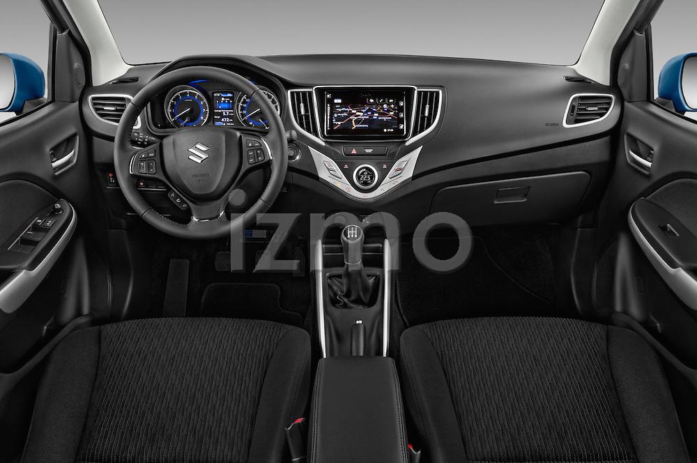 Stock photo of straight dashboard view of 2016 Suzuki Baleno Skycruise 2 Door Convertible Dashboard