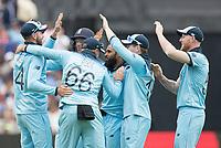 High fives - England and Adil Rashid (England) celebrate the wicket of Carey during Australia vs England, ICC World Cup Semi-Final Cricket at Edgbaston Stadium on 11th July 2019