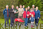 Ted Kenny presents the Island Cup to John O'Sullivan Tullig, Castleisland whose dog Cryptic Rebel on Monday l-r: Tom O'Sullivan, Ted Kenny, Dan O'Sullivan, John O'Sullivan, Magella Riordain, Linda Ferris, John O'Carroll, Mary, Dave and Margaret Nelligan ..