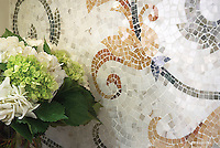 Tamsin Stone Mosaic shown in Calacatta Tia, Verde Luna, Verde Alpi, Giallo Reale, Renaissance Bronze, Rosa Verona, Spring Green, Blue Macauba, Blue Bahia As seen in Veranda.