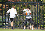 04 November 2007: Duke's Brendan Fitzgerald (22) and Nick Tsipis (l) during warmups. The Alabama A&M University Bulldogs defeated the Duke University Blue Devils 4-3 at Koskinen Stadium in Durham, North Carolina in an NCAA Division I Men's Soccer game.