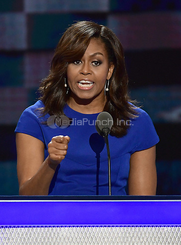 First lady Michelle Obama makes remarks at the 2016 Democratic National Convention at the Wells Fargo Center in Philadelphia, Pennsylvania on Monday, July 25, 2016.<br /> Credit: Ron Sachs / CNP/MediaPunch<br /> (RESTRICTION: NO New York or New Jersey Newspapers or newspapers within a 75 mile radius of New York City)