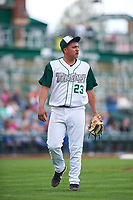 Fort Wayne TinCaps starting pitcher Efrain Contreras (23) walks off the field between innings of a Midwest League game against the Kane County Cougars at Parkview Field on May 1, 2019 in Fort Wayne, Indiana. Fort Wayne defeated Kane County 10-4. (Zachary Lucy/Four Seam Images)