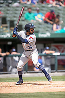 Lake County Captains second baseman Jose Fermin (13) at bat against the South Bend Cubs on May 30, 2019 at Four Winds Field in South Bend, Indiana. The Captains defeated the Cubs 5-1.  (Andrew Woolley/Four Seam Images)