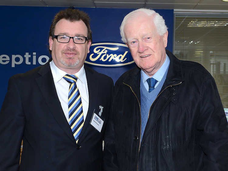 Niall Moroney of Smith's Ford Main Dealers North road pictured with Michael Keelan at the Big Car Day promoting the upcoming 141 registration plates. Photo:Colin Bell/pressphotos.ie
