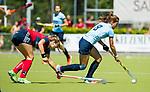 NIJMEGEN -   Klaartje Mientjes (Nijm.)  tijdens  de tweede play-off wedstrijd dames, Nijmegen-Huizen (1-4), voor promotie naar de hoofdklasse.. Huizen promoveert naar de hoofdklasse.  COPYRIGHT KOEN SUYK