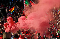 Portland, Oregon - Sunday September 4, 2016: Thorns supporters celebrate after a goal during a regular season National Women's Soccer League (NWSL) match at Providence Park.