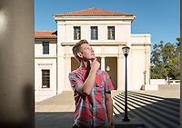 Having served in the Navy for six years, Daryl Barker '18 had the option to head straight into a career after being honorably discharged. Instead, he chose to pursue a degree in politics and a wide range of experiences as an Occidental student. Profile photo taken on Oct. 26, 2017 outside Fowler Hall.<br /> (Photo by Marc Campos, Occidental College Photographer)