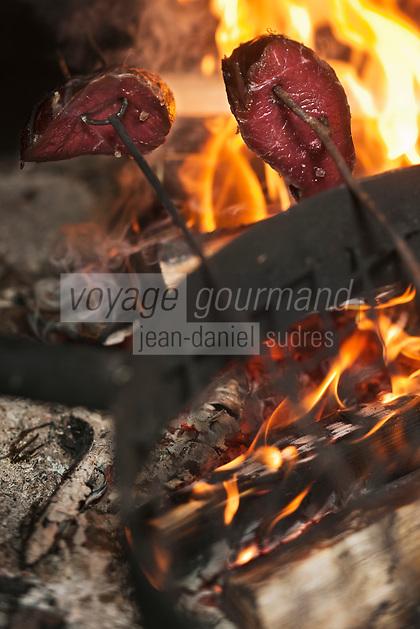 Europe/Finlande/Laponie/Lac Jerisjärvi: Repas traditionnel lapon dans la kota du pêcheur: Yaros cuit au feu de bois la viande de renne