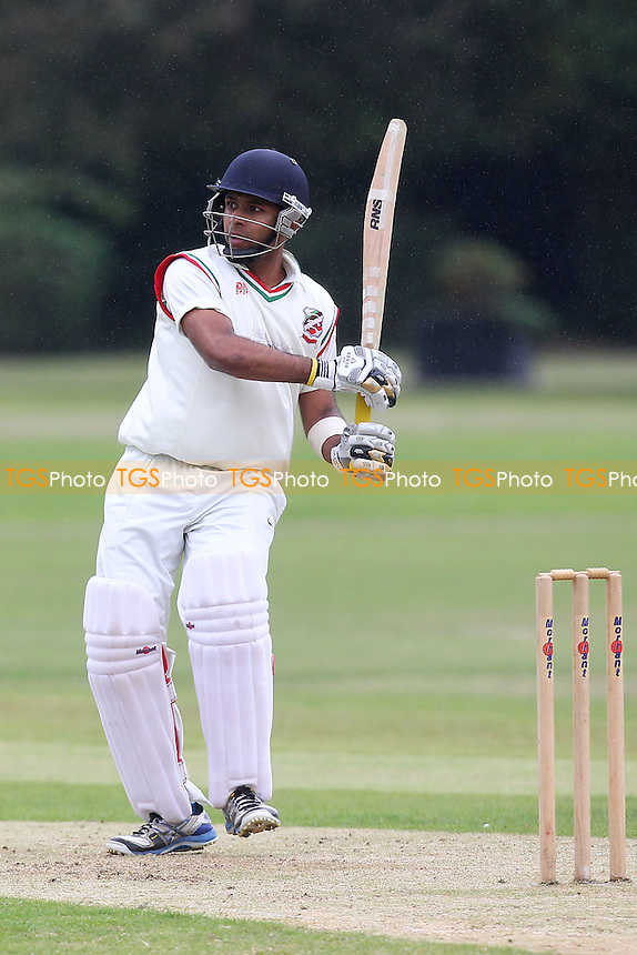 Nigel Jacobs in batting action for Ilford - Upminster CC vs Ilford CC - Essex Cricket League - 14/06/14 - MANDATORY CREDIT: Gavin Ellis/TGSPHOTO - Self billing applies where appropriate - 0845 094 6026 - contact@tgsphoto.co.uk - NO UNPAID USE