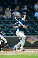 Daniel Spingola (22) of the Myrtle Beach Pelicans follows through on his swing against the Winston-Salem Dash at BB&T Ballpark on May 11, 2017 in Winston-Salem, North Carolina.  The Pelicans defeated the Dash 9-7.  (Brian Westerholt/Four Seam Images)