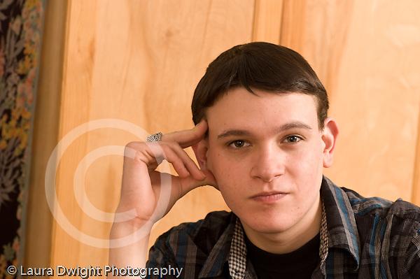 Closeup portrait of 19 year old teenage boy Caucasian horizontal