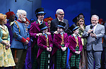 Jackie Hoffman, John Rubinstein, Christian Borle, Scott Wittman, Emily Padgett, Marc Shaiman with cast during the Broadway Opening Performance Curtain Call of 'Charlie and the Chocolate Factory' at the Lunt-Fontanne Theatre on April 23, 2017 in New York City.