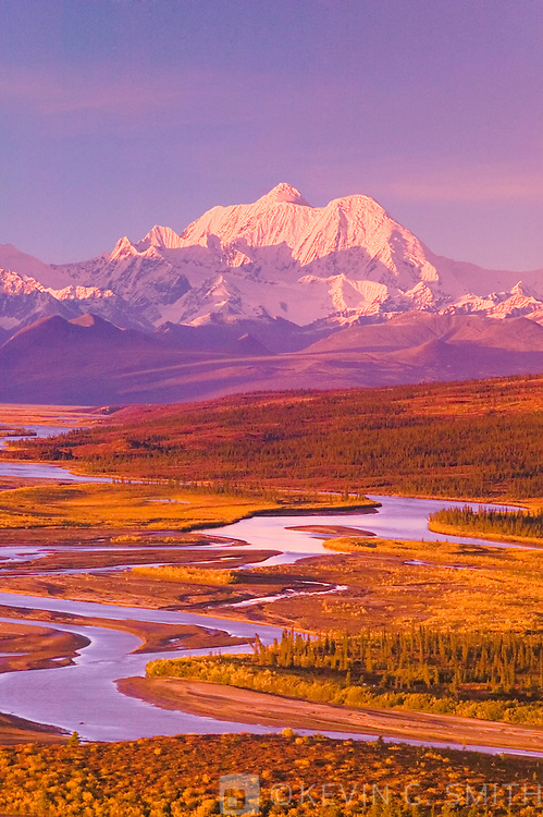 The south side of the Alaska Range seen from the Denali Highway, looking twoards the headwaters of the Susitna River , fall, Alaska USA.