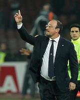 Rafael Benitez durante l'incontro di calcio di Serie A  Napoli Milan allo  Stadio San Paolo  di Napoli , 08 Febbraio 2014<br /> Foto Ciro De Luca
