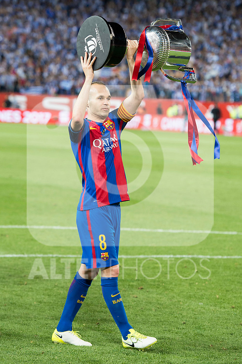FC Barcelona's midfielder Andres Iniesta during Copa del Rey (King's Cup) Final between Deportivo Alaves and FC Barcelona at Vicente Calderon Stadium in Madrid, May 27, 2017. Spain.<br /> (ALTERPHOTOS/BorjaB.Hojas)
