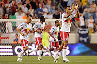 Thierry Henry (14) of the New York Red Bulls celebrates scoring during a Barclays New York Challenge match against Tottenham Hotspur F. C. at Red Bull Arena in Harrison, NJ, on July 22, 2010.