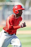 Los Angeles Angels minor league outfielder Chevy Clarke #8 during an instructional league game against the Arizona Diamondbacks at the Tempe Diablo Minor League Complex on October 1, 2012 in Tempe, Arizona.  (Mike Janes/Four Seam Images)
