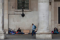 Homeless young men sleeping rough in Covent Garden, London, UK. Friday January 5th 2018