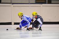 SHORTTRACK: HEERENVEEN: IJsstadion Thialf, 30-01-2015, StarClass 5 (NC-2) Europa Cup, Jeugdwedstrijd (t/m 16 jaar), Alberto RAVA (#101   ITA), Robin VAN RIET (#142), ©foto Martin de Jong