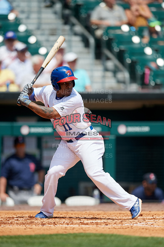 Buffalo Bisons shortstop Gift Ngoepe (11) at bat during a game against the Pawtucket Red Sox on June 28, 2018 at Coca-Cola Field in Buffalo, New York.  Buffalo defeated Pawtucket 8-1.  (Mike Janes/Four Seam Images)