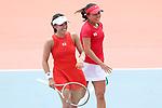 Miyu Kato & Makoto Ninomiya (JPN), <br /> AUGUST 22, 2018 - Tennis : <br /> Women's Doubles Round of 16<br /> at Jakabaring Sport Center Tennis Court <br /> during the 2018 Jakarta Palembang Asian Games <br /> in Palembang, Indonesia. <br /> (Photo by Yohei Osada/AFLO SPORT)