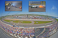 Jun. 22, 2008; Newton, IA, USA; Overview of the track during the Iowa Corn Indy 250 at the Iowa Speedway. Mandatory Credit: Mark J. Rebilas-