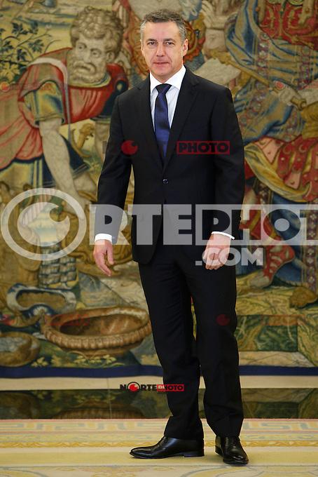 President of the Basque Government, Lehendakari Inigo Urkullu attends Zarzuela Palace for an audience with King Juan Carlos of Spain. January 21, 2013. (ALTERPHOTOS/Caro Marin) /NortePhoto