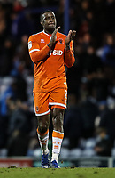 Blackpool's Donervon Daniels applauds his side's travelling supporters at the end of the match <br /> <br /> Photographer Andrew Kearns/CameraSport<br /> <br /> The EFL Sky Bet League One - Portsmouth v Blackpool - Saturday 12th January 2019 - Fratton Park - Portsmouth<br /> <br /> World Copyright &copy; 2019 CameraSport. All rights reserved. 43 Linden Ave. Countesthorpe. Leicester. England. LE8 5PG - Tel: +44 (0) 116 277 4147 - admin@camerasport.com - www.camerasport.com